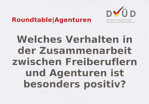 Roundtable|Agenturen, Leitfrage 3